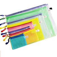 Wholesale office stationery single zipper bag B4 A4 A5 A6 B5 B6 A3 B8 BILL SIZE document collection bag PVC mesh file zipper bag