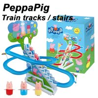 Wholesale Zorn toys Peppa Pink Pig Railcar Climbing stairs Pager Pig Train Railway Train Set Electric rail car With music and light kids toys