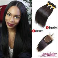 Wholesale 3pcs virgin hair weave bundles and pc top lace closure Brazilian Virgin Hair with Closure straight Brazilian virgin hair extensions
