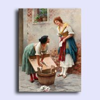 arts news - Hand painted modern wall art home decorative abstract oil painting on canvas Eugene de Blaas Sharing the News young women x36inch Unframed