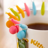 Wholesale 10PCS pack Silicone Snail Style String Hanger Clip for Tea Bag Random Color