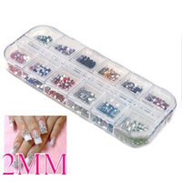 Wholesale Mix Color mm Circle Beads Nail Art Tips Rhinestones Glitters Acrylic UV Gel Gems Decoration with Hard Case Nail Art Tool