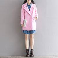 Wholesale New Hot Autumn Winter Women Long Woolen Coats Plus Size Vintage Pink Blue Loose Single Breasted Wool Coat Trench Jacket