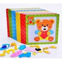 Wholesale styles Baby Toys D Magnetic Puzzles Wooden Animals Puzzles Tangram Tiger Bear Frog Educational Toys for Kids