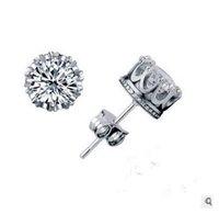 beautiful jewellery designs - Fashion design sterling silver cz diamond crown stud earring fashion jewellery beautiful wedding engagement gift