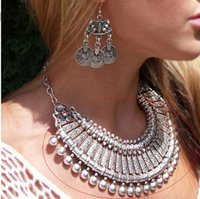 antique style earrings - 2016 New Antique Silver Bohemian Style Gypsy Love Affair Metal Carving Flower Ball Long Pendant Statement Necklaces Boho Jewelry