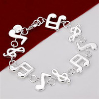 Wholesale H242 fine women sterling silver jewelry music bracelet bangle nice new hot sale Dubble Heart charm chain links bracelet
