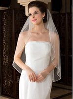 Wholesale White Ivory Layer Elbow Length Rhinestone Edge Wedding Bridal Veil With Comb Bridal Veils Long Veils