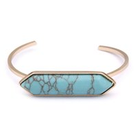 agate marbles - 18K Gold Plated New Fashion Geometric Arrow Shape Turquoise White Faux Marble Stone Bangles for Women