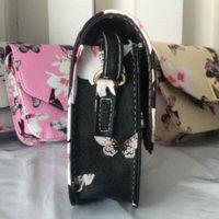 Bolsa de hombro V Palabra de Crossbody del cuerpo de la cruz del bolso de la aleta Bolsa de Corea niñas de impresión de la flor de las mujeres de cuero de lujo del mensajero del bolso