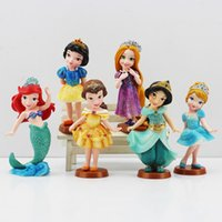 ariel doll - 6Pcs set Princess PVC Cinderella Snow White Rapunzel Jasmine Thinkbell Bella Ariel action Figure Dolls For Girl robot minion