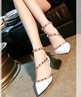 Wholesale Summer rivet high heels Pointed toe shoes fashion sandals Party shoes Patent Leather shoes