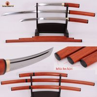 antique japanese tanto - JAPANESE SAMURAI SHIRASAYA CLAY TEMPERED HAMON SWORD SET KATANA WAKIZASHI TANTO FULL TANG T10 STEEL BLADE OX HORN