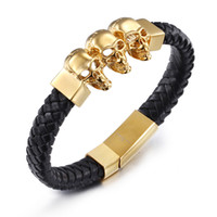 Wholesale Brand New Men Fashion Jewelry Stainless Steel Based K Gold Plated And Braided Genuine Leather Cuff Braclet
