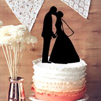 Wholesale Wedding Cake Topper Romantic Bride and Groom Kissing Wedding Silhouette Cake Topper Couple Wedding Anniversary Cake Topper