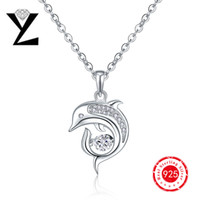 Wholesale Personalized Dolphin Sterling Silver Ocean Series Jewelry Pendant with Dancing Stone Pendant for Women Wedding Favors and Gifts DP08840A