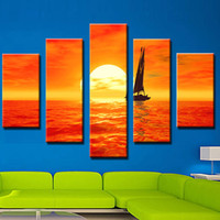 beautiful sunset - 5 Picture Combination Art Paintings Set Sail Sunset Beautiful Sea Scenery Art Painting Sale No Frame Home Decor Painting