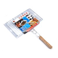 bbq fish basket - Barbecue Meshes Camping Grill Rack BBQ Clip Folder Grill Single Fish Meat Hinged Basket