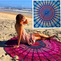 Wholesale 50pcs DHL Indian Mandala Tapestry Boho Chiffon Round Beach Throw Towels Yoga Mat Wall art Hanging Large Shawls Tapestry Throw Blanket BKT091