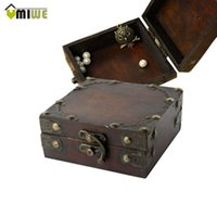 Wholesale High Quality Portable Women Brown Retro Old Stye Unique Wooden Jewelry Organizer Box Case