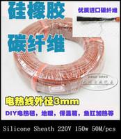 Al por mayor-50M / pc New Infrared Silcone vaina Suelo radiante del sistema de cable de 2,1 mm 12K / 33Ohm fibra de carbono Suelo Techo eléctrico Línea Wire