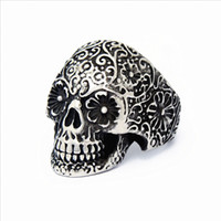 Wholesale New Men s Stainless Steel Silver Punk Rock Gothic Skull Biker Jewelry Rings new arrival