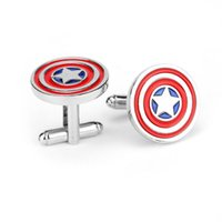 Wholesale Captain America Cufflinks red color fashion novelty superheroes design