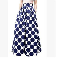 bell maxi skirt - 2016 Women s boho dress White Contrast Polka Dot Print Maxi Skirts casual dresses party evening Flora printed dresses ball gown