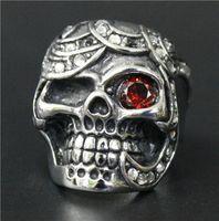 al por mayor real de plata anillo rojo-Tamaño 7-13 joyería para hombre del acero inoxidable 316L del anillo del cráneo de plata con rojo cristalino claro 100% de la buena calidad para el anillo del motorista real