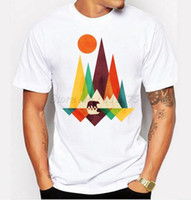 bear tees - 2016 New Arrival Simple Mountain And Bear Design Men s Fashion T shirt Cool Tops Short Sleeve Hipster Tees