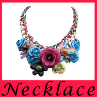 anniversary cotton gifts - New Colorful Flowers Imitation Diamond Pendant Cotton Rope Weaving Red Carpet Chain Necklace Short Clavicle