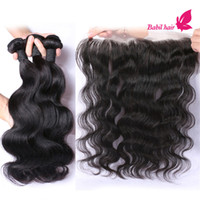 Wholesale Human Hair Bundle With Lace Closure Virgin Hair Extensions Peruvian Indian Malaysian Brazilian Body Wave Hair Weave With Frontal Closures