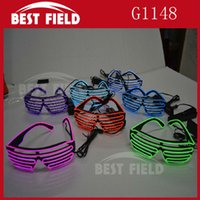 Wholesale Sound Music Voice Activate El Wire Fashion Neon LED Light Up Shutter Shaped Glasses Rave Costume Party