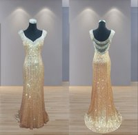 Wholesale 2016 Sheer Gold Sequined Dresses Long Sexy V Neck Backless Mermaid Dresses Evening Wear Crystal Special Occasion Prom Party Formal Gowns