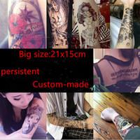 arm sleeve tattoos for men - 3D Waterproof Body Arm Sleeve Art Tattoo Sticker Handsome Tatouage Glitter Black Temporary Tattoos Tattoo For Man Women custom made X15CM