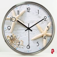 beach wall clocks - Simple beach Sunstar Wengen Hotel pastoral living room decorative wall clock clock quartz clock mute watch