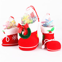 Wholesale Shoe Trees For Boots - Christmas Tree Decoration Bag Christmas Boots Candy Boots Box for Kids Children Party Bags Boys Girls Santa Boot Shoes Stocking B0602