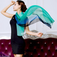 Wholesale 180 cm Gradient Colour Silk Chiffon Scarf Real Silk Scarf Mulberry Silk Hijab Cape from China Silk World