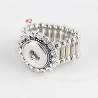 Wholesale 5 styles choose DIY crystal ring SNAP BUTTON CHARM stretch RING DIY stretch ring without snap button charms