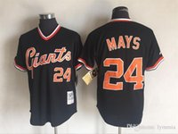 Wholesale 24 Willie Mays Mens Giants Majestic Black Cool Base Cooperstown Collection Throwback MLB Baseball Jersey holypote