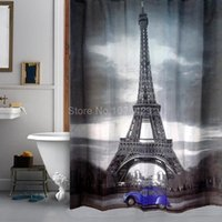 Wholesale Shower Curtain Cute Blue Car Eiffel Tower Design Bathroom Waterproof Mildewproof Polyester Fabric With Inch Hooks