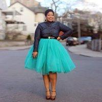 aqua tulle - Plus Size Aqua Blue Tulle Skirts For Women Knee Length Midi Dresses Tutu Short Party Dresses Formal Skirt For Girls