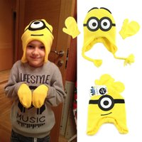 Wholesale Despicable Me Minions Children Winter Hat Kids Scarf Gloves Mittens Boys Girls Hats Caps