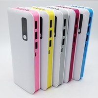 Wholesale Rechargeable Three USB port power bank mah with led light Universal for iphone samsung All mobile phones