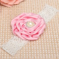 Wholesale 2015 New Arrival Baby Girls Lace Rose Flower Headbands Beauty Wide Loop Hairband Soft Elastic Colors Fashion Hair Accessories