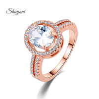 Wholesale SHUYANI Jewelry Design Shiny Oval Big Stone Austrian Crystal Engagement Ring Zircon Wedding Rings For Women