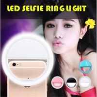 El reflector redondo redondo del círculo de la luz del anillo de 2017 LED Selfie rellena la lámpara ligera de la cámara del teléfono celular Luz de Selfie para el iphone 6 7 más samsung s7 s8 ipad