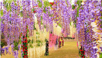 Wholesale Elegant Artificial Silk Flowers Wisteria Vine Rattan For Wedding Centerpieces Decorations Bouquet Garland Home and Party free DHL