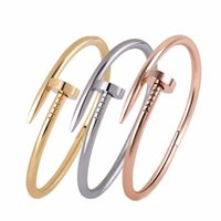 american roses - 2016 Bracelet Stainless Steel Love Nail Bracelet Silver Rose Gold K Gold Plated Women Jewelry Nail Screw Cuff Bangle Men