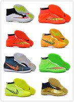 Wholesale 2016 New Elastico Superfly IC Indoor Soccer Shoes High Ankle Superfly TF Turf soccer Boots Futsal Soccer